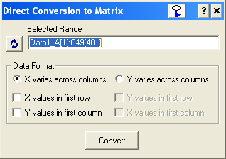 Origin's Direct Conversion to Matrix dialog