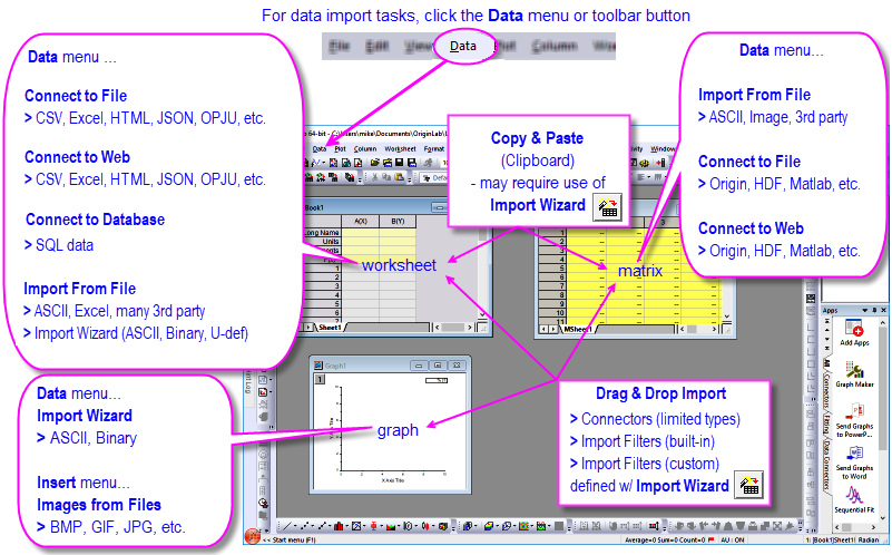 help online user guide import data