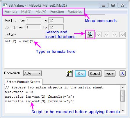 Help Online - User Guide - Matrix Book Matrix Sheet Matrix