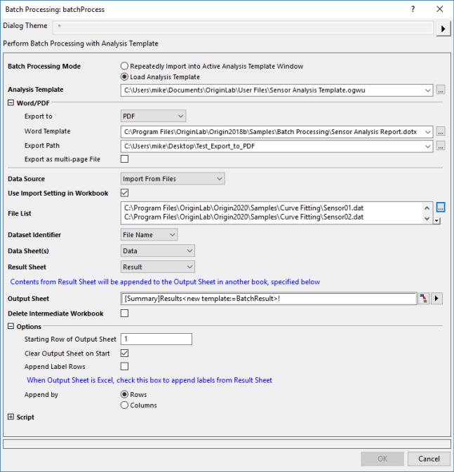 Help Online - Origin Help - Batch Processing