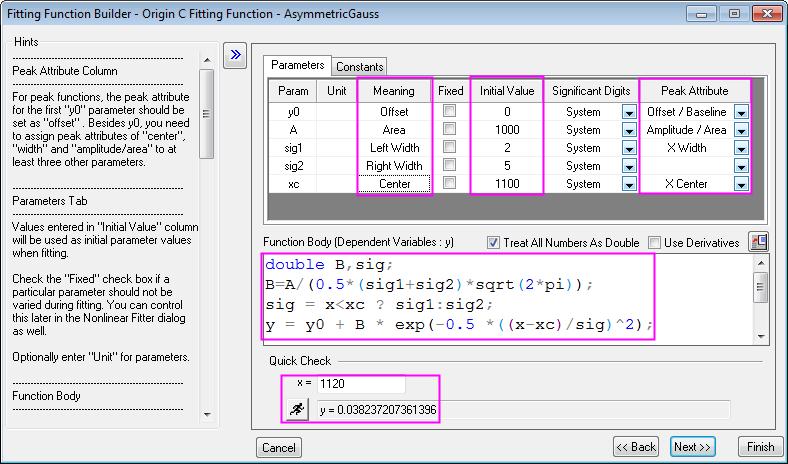 Help online origin help defining a peak function define peak function 02g malvernweather Choice Image