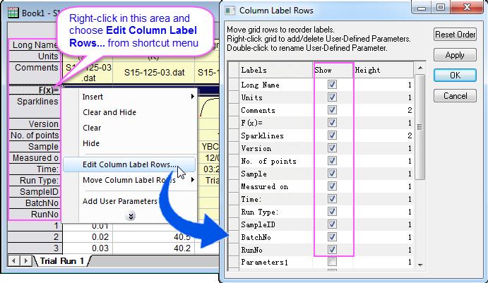 Help Online Origin Help Displaying Supporting Data In Worksheet