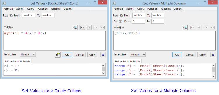 Help Online - Origin Help - Entering Expressions in the Set Values ...