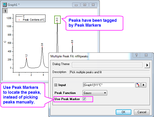 Help Online - Origin Help - Fitting Multiple Peaks with the Multiple