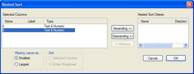 Help Online - Origin Help - Sorting Worksheet Data