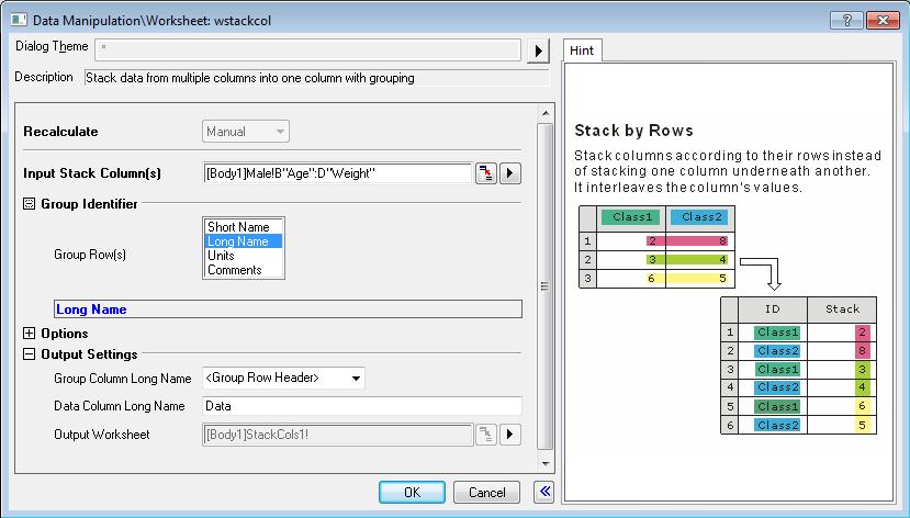 Help Online - Origin Help - Stacking Worksheet Columns