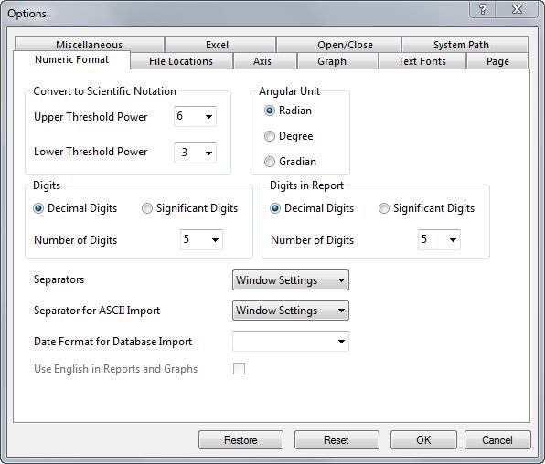 Help Online Origin Help The Options Numeric Format Tab