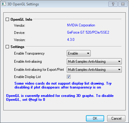 Help Online - Origin Help - The 3D openGL Settings dialog