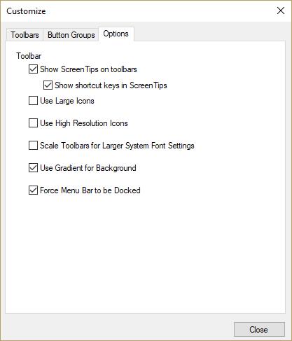 Help Online - Origin Help - The Customize Toolbar Dialog Box