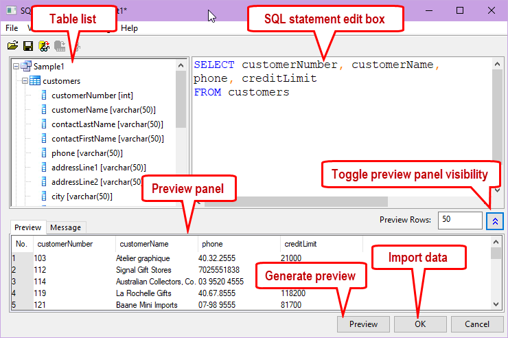 Help Online - Origin Help - The SQL Editor Dialog Box