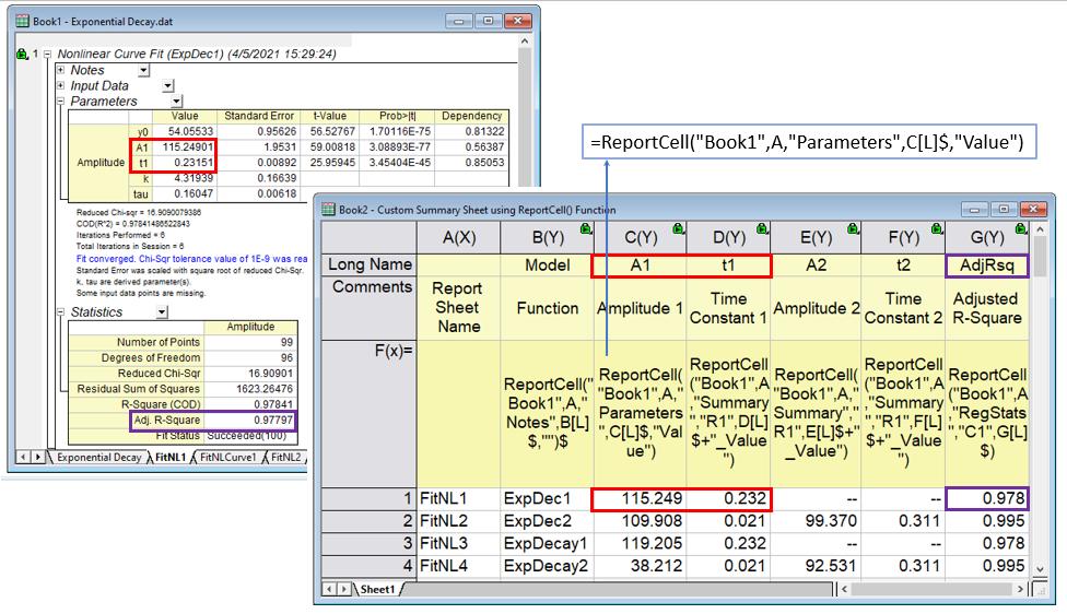 Origin software - Cálculos de hojas en trabajo