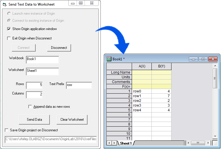 this example shows a visual basic tool which simply generates some random numeric data and some texts then places them in a sheet in an origin workbook - Visual Basic Beispiele