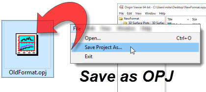 Convert OPJU files to OPJ files with the Origin Viewer 9.6.5