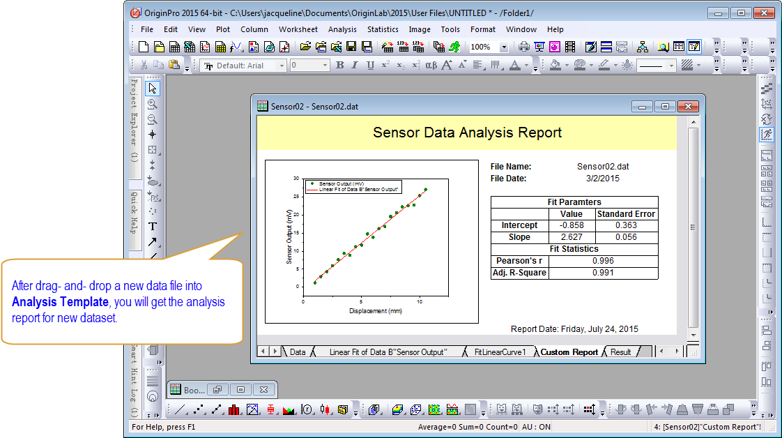 Perform Your Analysis And Optionally Create A Custom Report Sheet Combining Graphs Results Save The Book Or Project As An Template