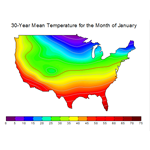 XYZ contour plot of 30-year mean temperature for the month of January
